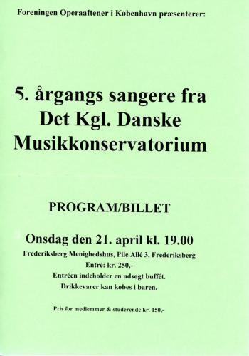 1999-04-21 5 årgangs sangere fra Det Kongelige Danske Musikkonservatorium1